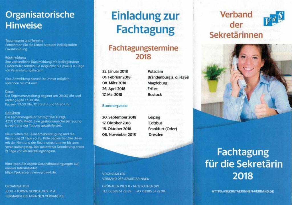 Fachtagung der Sekretärin 2018 broschüre